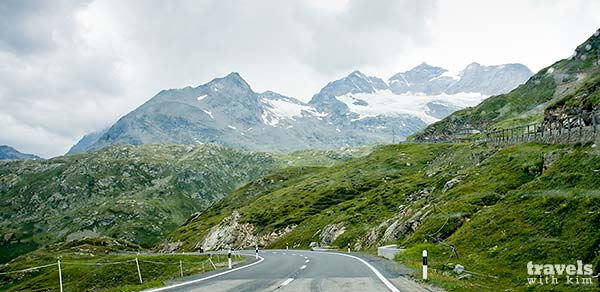 Driving Bernina Pass (Passo Bernina), Switzerland
